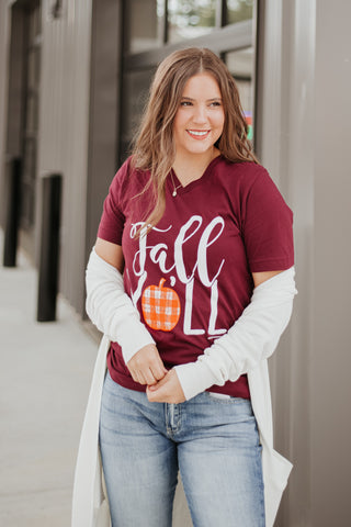 {Last Chance} Fall Y'all Graphic Tee ~ Burgundy **FINAL SALE**