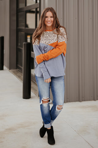 *NEW* Makenna Color Block Leopard Top