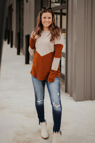 Everlee Two Tone Color Block Top