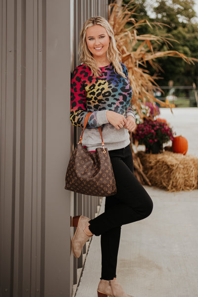 Blair Colorful Leopard Pullover