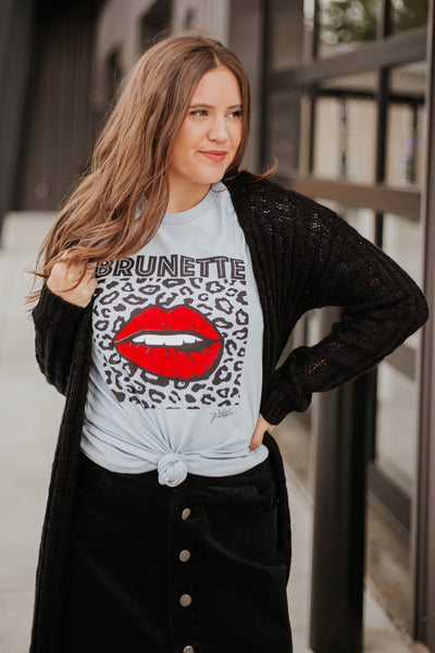 {Last Chance} Brunette Leopard and Lip Tee  **ALL SALES FINAL**