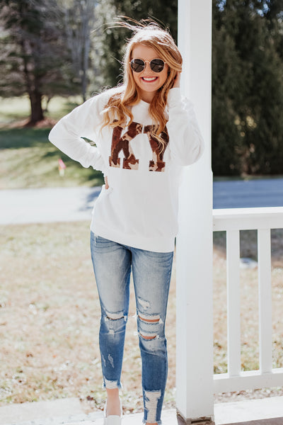 {Last Chance} KY Cow Print Graphic Long Sleeve Tee ~ White **FINAL SALE**