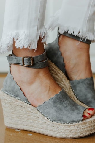 {Last Chance} Jade Espadrille Wedge ~ Grey *FINAL SALE*