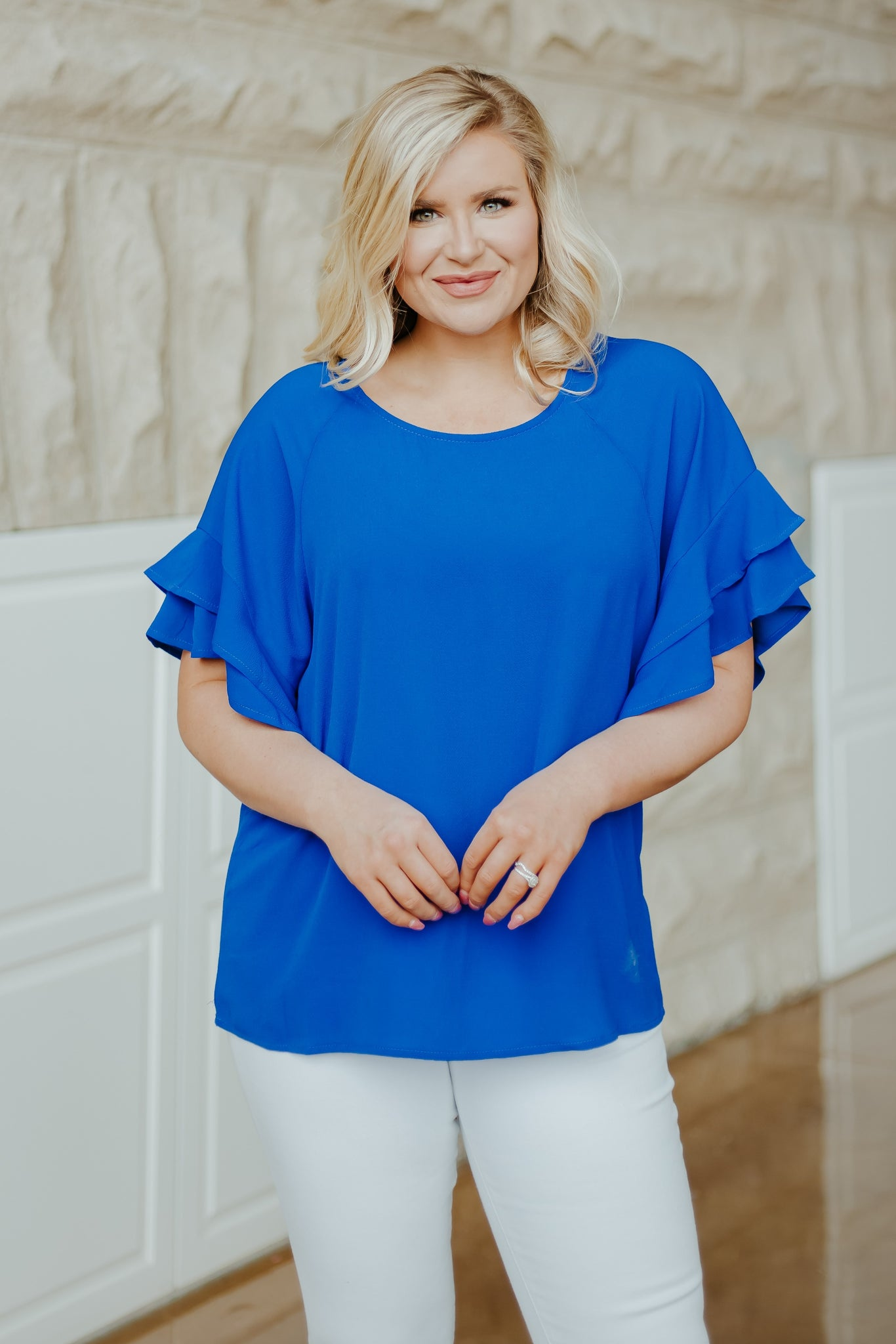 On Our Way Ruffle Top ~ Cobalt