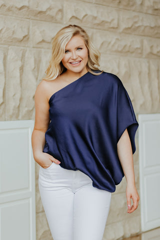 Ready For Tonight Off Shoulder Top ~ Navy