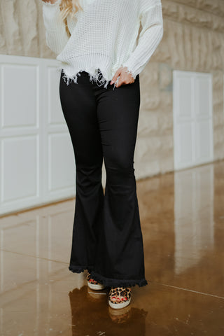 *NEW* Fiona Wide Flare Leg Pants ~ Black