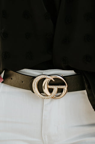 *New* Meri Vegan Leather Belt (Rhinestone) ~ Black