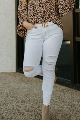 *NEW* Kancan Sharon Distressed Ankle Skinny ~ White - Be You Boutique