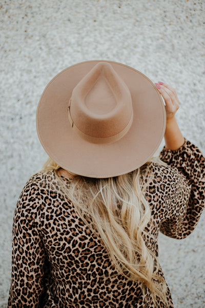 *New* Barry Flat Brim Wool Fedora ~ Pecan - Be You Boutique