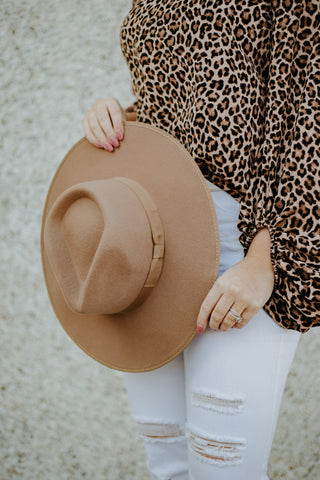 *New* Barry Flat Brim Wool Fedora ~ Pecan