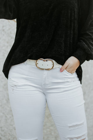 *New* Bianca Leather Belt ~ White Snake - Be You Boutique