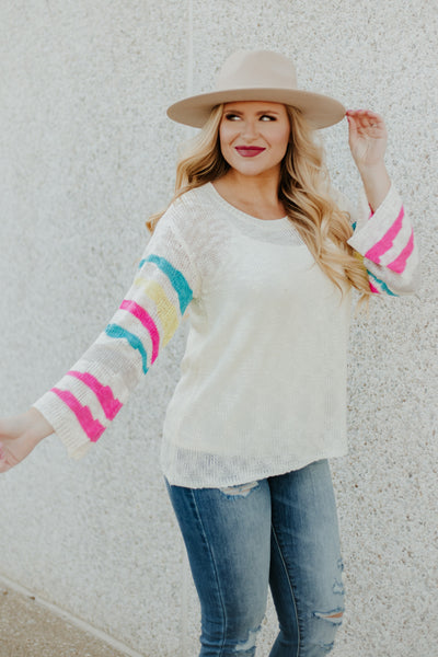 *NEW* Loving You Stripe Spring Sweater ~ Multi - Be You Boutique
