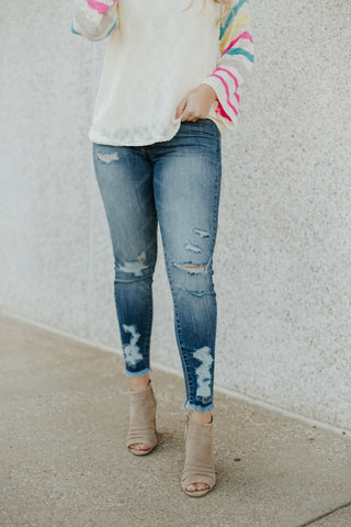 *NEW* Kancan Summer Mid Rise Distressed Ankle Skinny Jeans ~ Medium - Be You Boutique