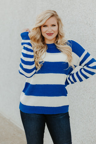 *NEW* Corrine Stripe Boat Neck Sweater ~ Royal Blue - Be You Boutique