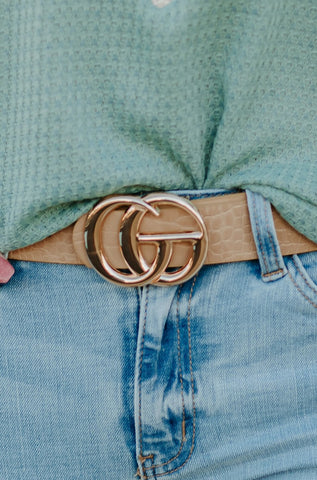 *New* GiGi  Vegan Leather Belt ~Taupe Snake