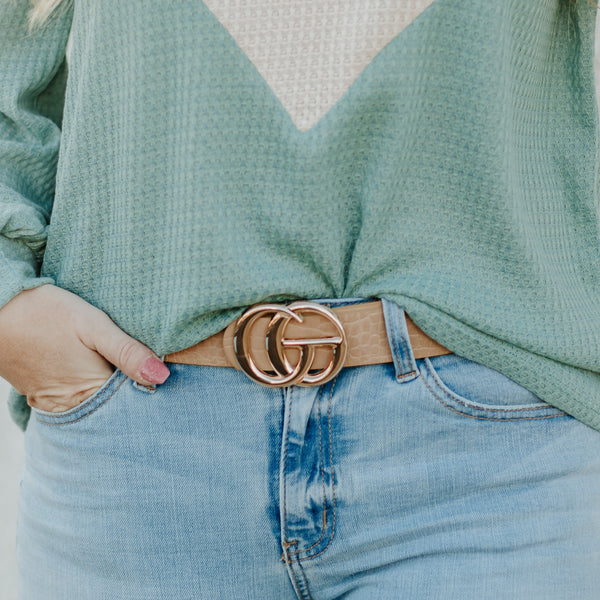 *New* GiGi  Vegan Leather Belt ~Taupe Snake - Be You Boutique