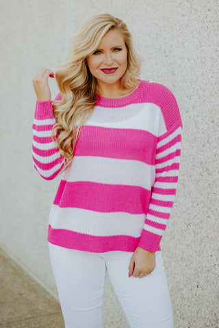 *NEW* Spring Stripes Sweater ~ Hot Pink - Be You Boutique