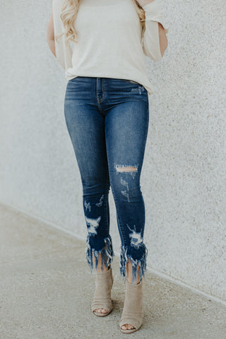*New* Kancan Go Crazy Distressed Freyed Hem Ankle Skinny Jeans - Be You Boutique