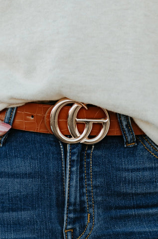*New* GiGi  Vegan Leather Belt ~ Cognac Snake - Be You Boutique