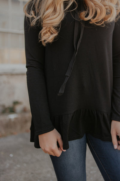 {LAST CHANCE} Rhonda Ruffle Hem Top ~ Black