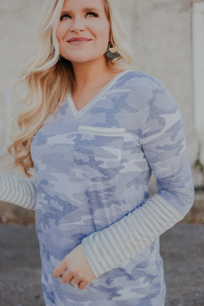 {LAST CHANCE} Camo & Stripes V Neck Top ~ Grey