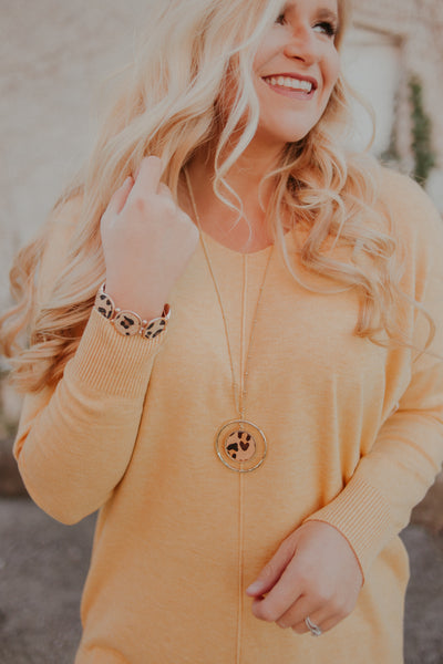 Leopard Gold Circle Necklace ~ Gold