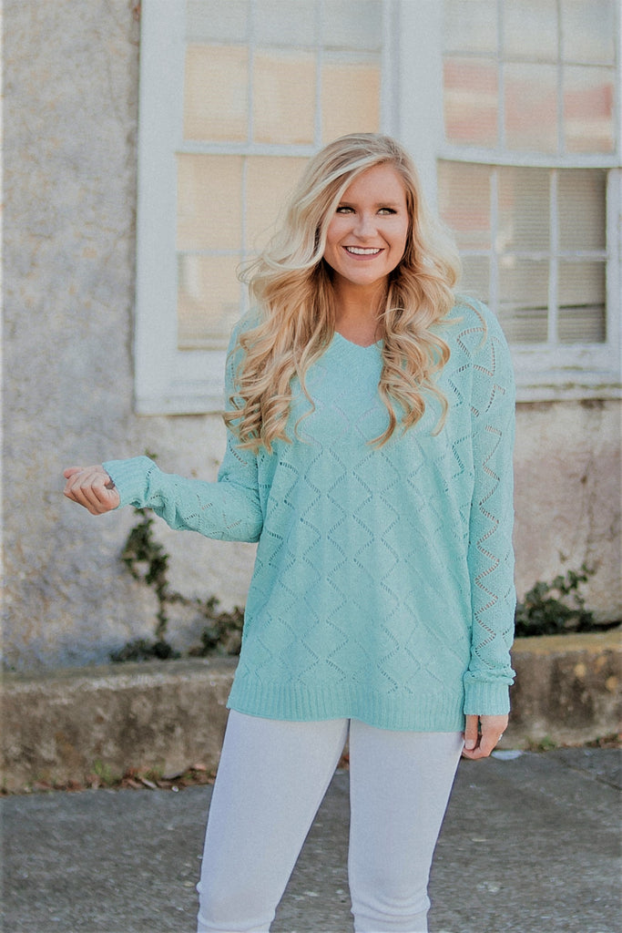 {LAST CHANCE} Spring Pointelle Sweater ~ Mint