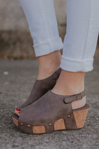{Last Chance}  Wedge Sandals ~ Brown