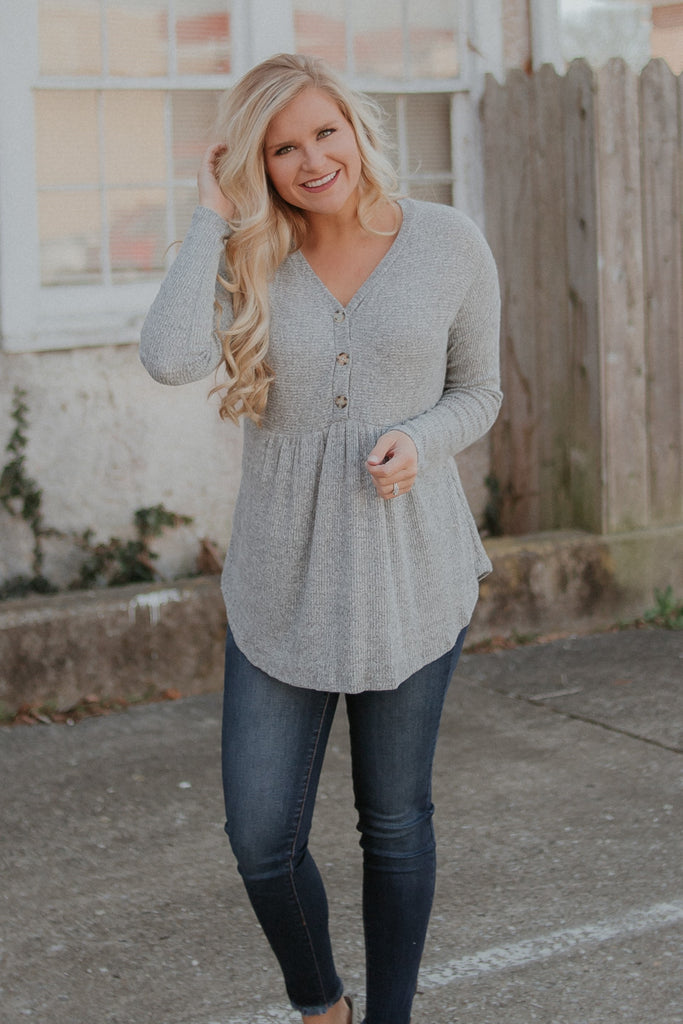 {LAST CHANCE} Baby Button Baby Doll Top ~ Grey