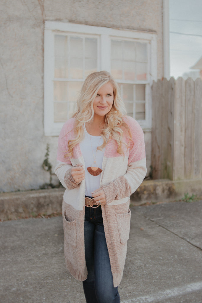 {LAST CHANCE} Sunshine Days Color Block Cardigan ~ Blush Mocha