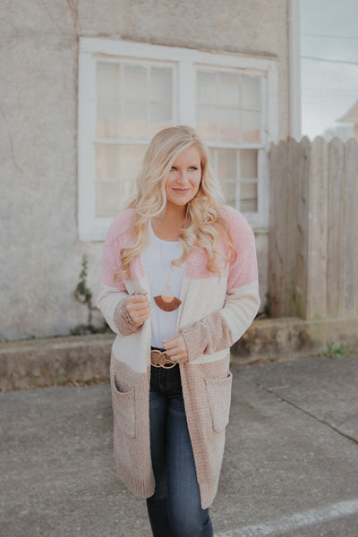 Sunshine Days Color Block Cardigan ~ Blush Mocha