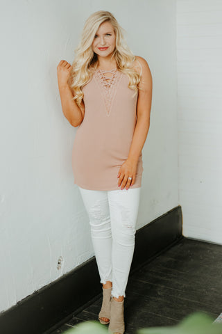 *NEW* Lovely In Lace Laced Up Cami Top ~ Rose