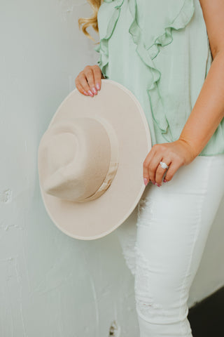 *New* Barry Flat Brim Wool Fedora ~ Cream - Be You Boutique