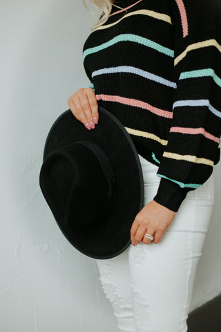 *New* Barry Flat Brim Wool Fedora ~ Black - Be You Boutique