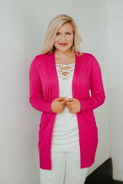 *New* Elsie Everyday Long Knit Cardigan with Pockets ~ Hot Pink - Be You Boutique