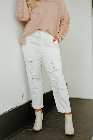 *NEW* In Time Denim Pants ~ White Denim