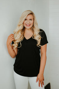 *NEW* Polly Pocket V Neck Basic Tee ~ Black - Be You Boutique