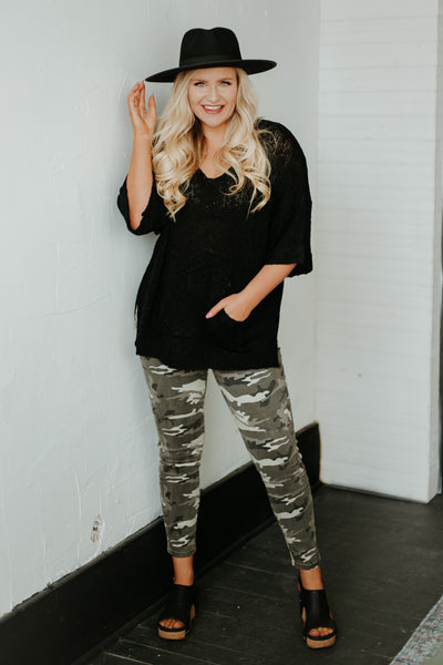 *New* Army Print Stretch Pants ~ Grey Camo - Be You Boutique
