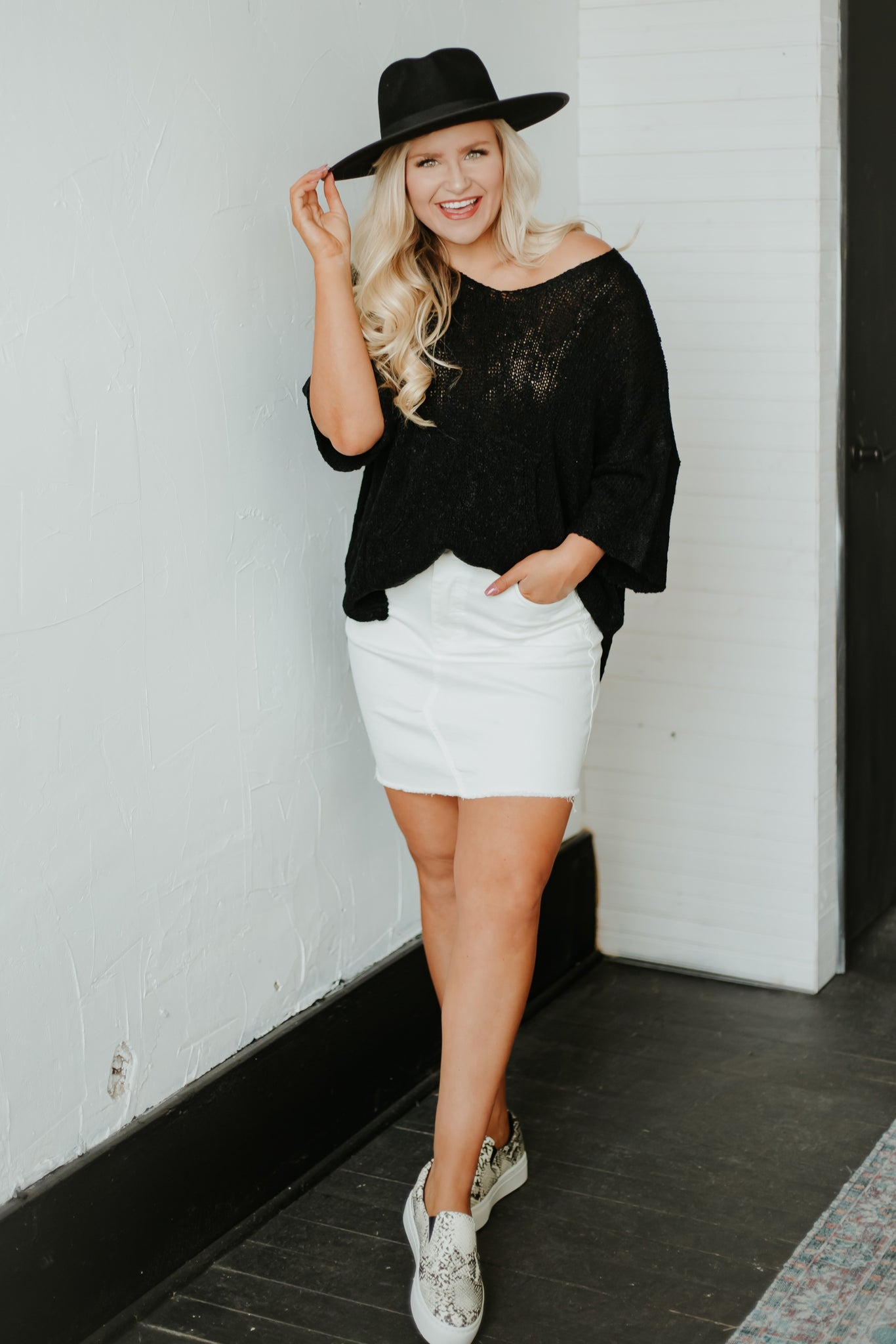 {Last Chance} Hilda High Waist Stretch Mini Skirt ~ Off White *FINAL SALE*