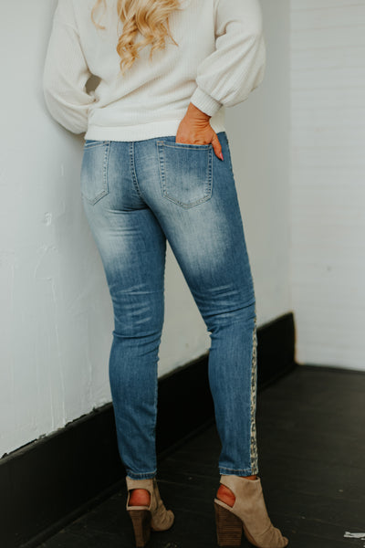 *NEW* Chasing A Dream Denim Jeans ~ Animal Print Detail - Be You Boutique