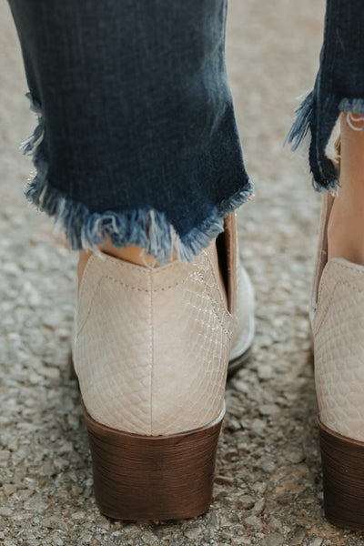{Last Chance} Volatile Alline Monochromatic Snake Textured Bootie ~ White *FINAL SALE* - Be You Boutique