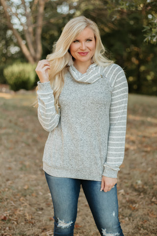 {Last Chance} Axel Pullover with Zipper ~ Heather Grey/Ivory *FINAL SALE* - Be You Boutique