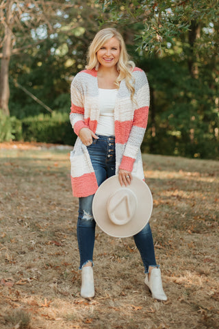 Dorinda Wide Stripe Color Block Popcorn Cardigan ~ Coral Pink