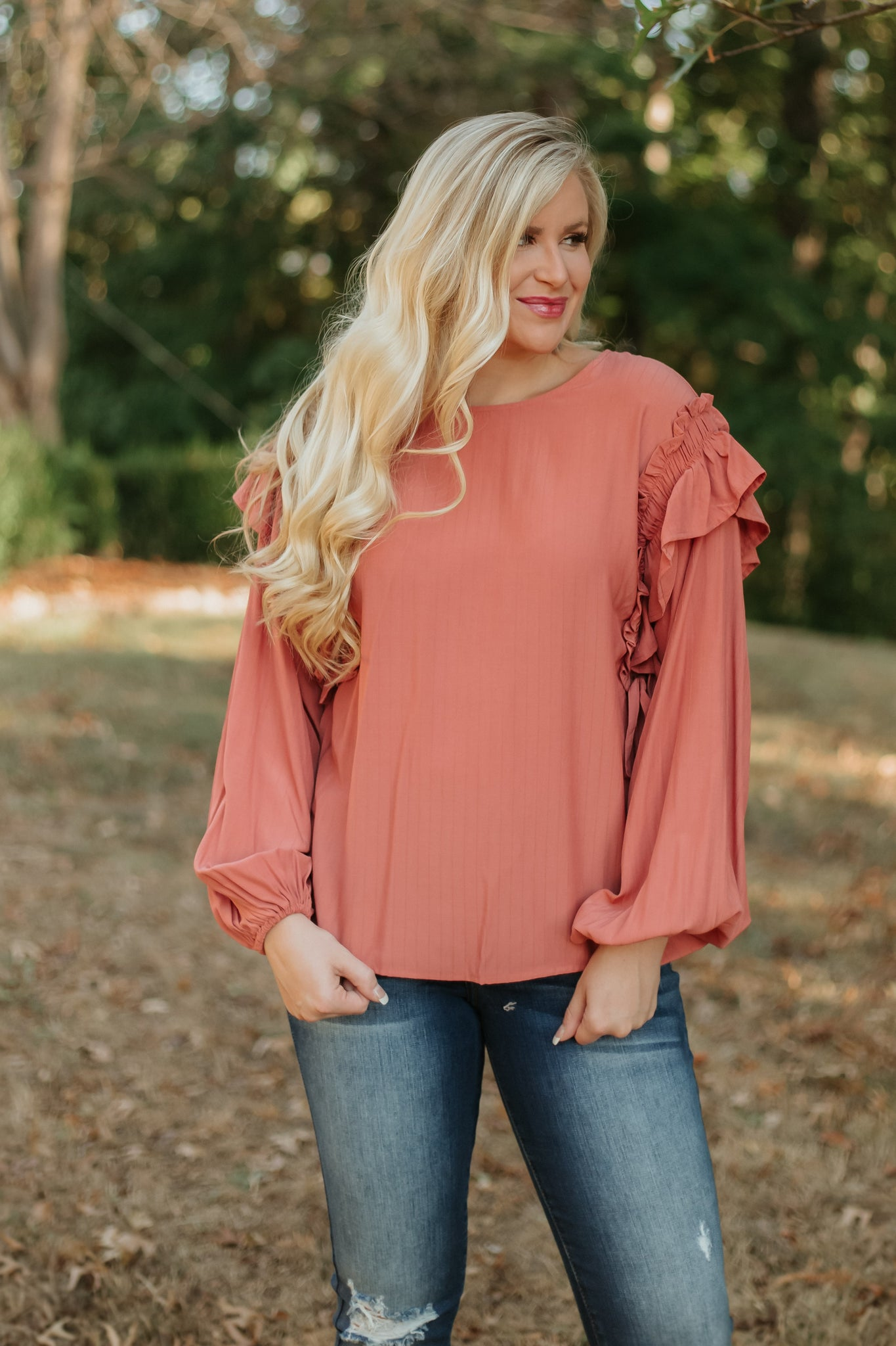 Carolina Ruffled Top ~ Faded Coral