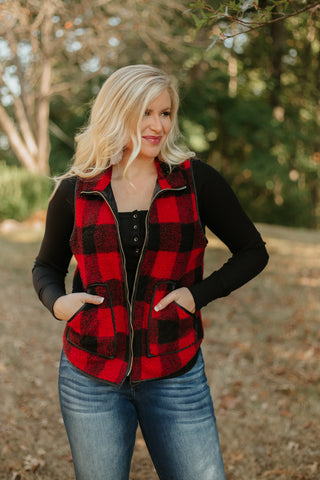 Lauren Elizabeth Buffalo Plaid Faux Sherpa Vest ~ Buffalo Plaid