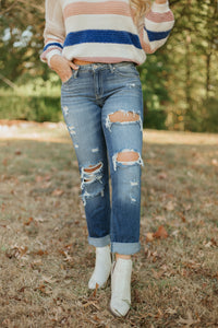 {Last Chance} KanCan Sandra Boyfriend Distressed Jeans ~ Medium Wash *FINAL SALE* - Be You Boutique
