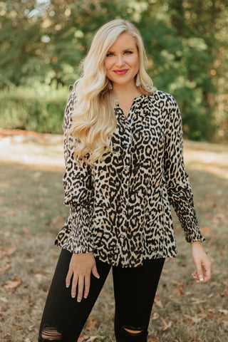 *NEW* Auburn Leopard Printed Button Down ~ Leopard
