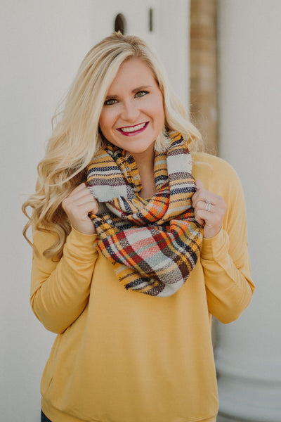 Fancy Fringe Plaid Scarf ~ Mustard