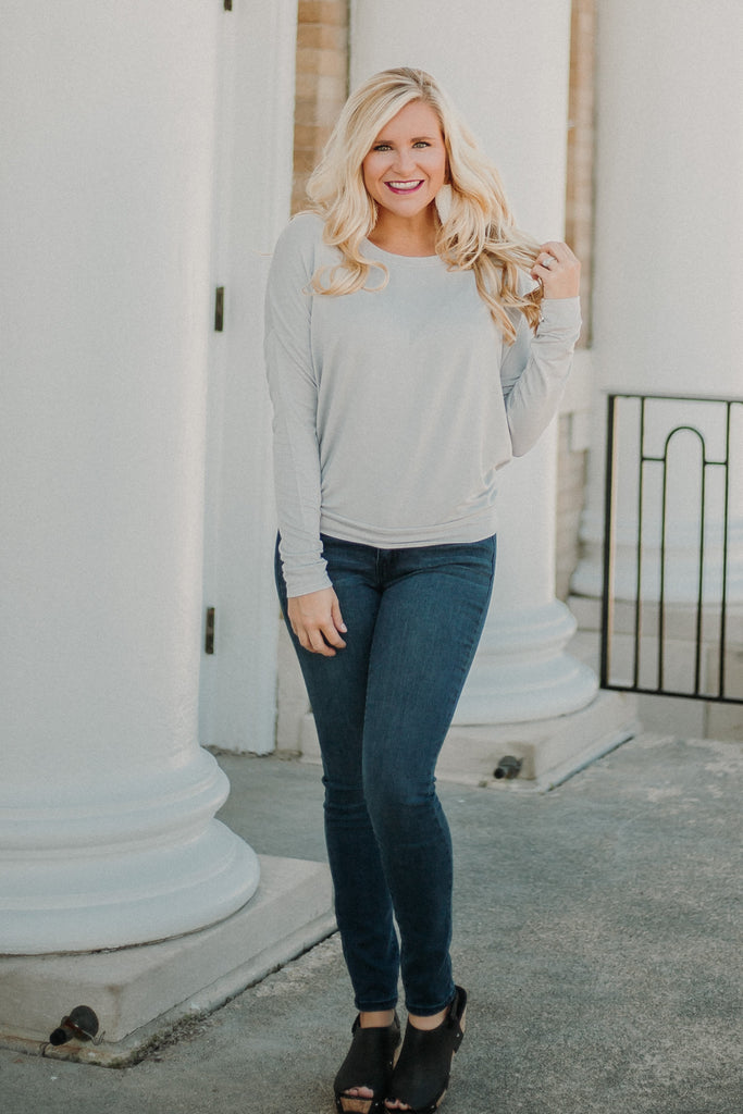 {LAST CHANCE} Lonnie Long Sleeve Top ~ Cloud