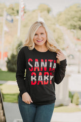 Santa Baby Long Sleeve Graphic Tee ~ Black Leopard